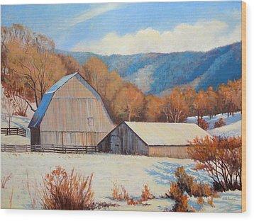 Winter Barns Wood Print by Keith Burgess