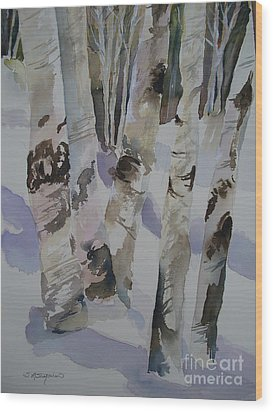Winter Birches Wood Print by Sandra Strohschein