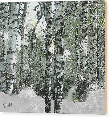 Wood Print featuring the digital art Winter Birches by Walter Chamberlain