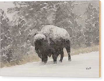 Wood Print featuring the digital art Winter Bison by Walter Chamberlain