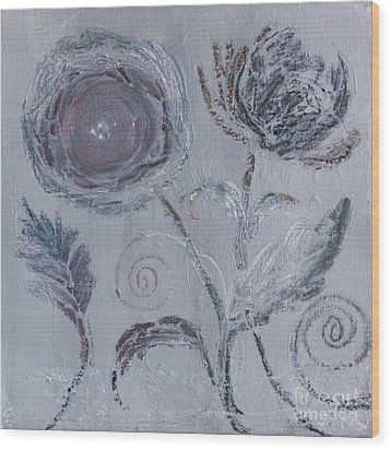 Wood Print featuring the painting Winter Blooms by Robin Maria Pedrero