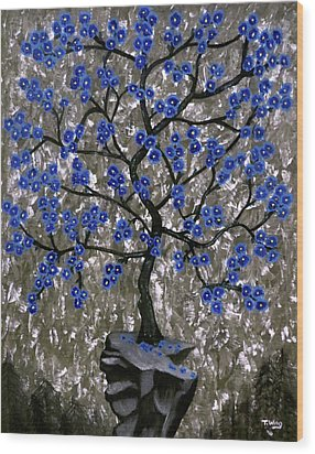 Wood Print featuring the painting Winter Blues by Teresa Wing