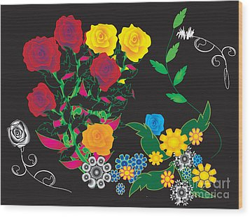 Wood Print featuring the digital art Winter Bouquet by Kim Prowse