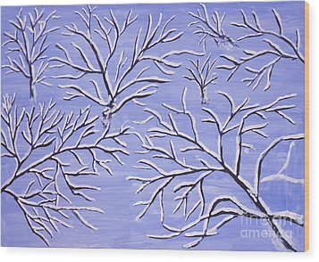 Winter Branches, Painting Wood Print
