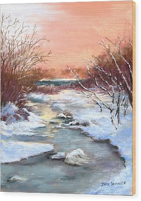 Wood Print featuring the painting Winter Brook by Jack Skinner