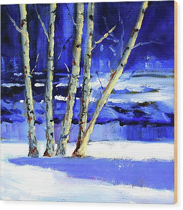 Wood Print featuring the painting Winter By The River by Nancy Merkle