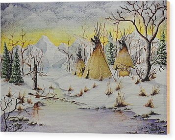 Winter Camp Wood Print by Jimmy Smith