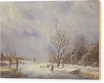 Winter Canal Scene Wood Print by Jan Lynn