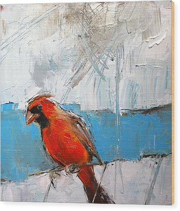 Winter Cardinal Wood Print by Claire Kayser