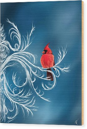 Winter Cardinal Wood Print