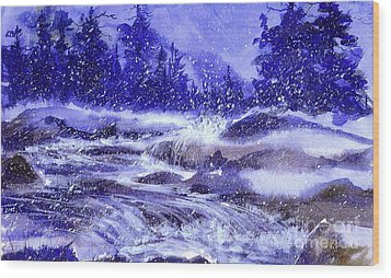 Winter Cascade Wood Print by Pat Crowther