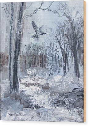 Wood Print featuring the painting Winter Caws by Robin Maria Pedrero