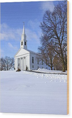 Winter Church Wood Print by Evelina Kremsdorf