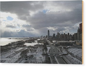 Winter Clouds Over Grant Park Wood Print by Gregory Jeffries