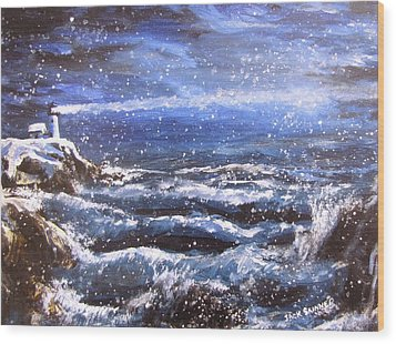 Winter Coastal Storm Wood Print by Jack Skinner
