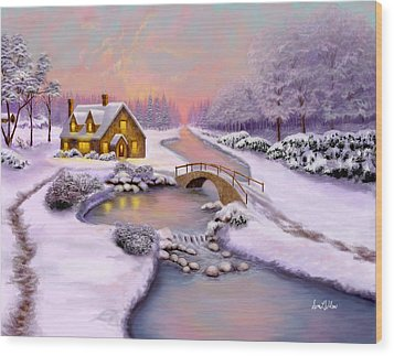 Wood Print featuring the painting Winter Cottage by Sena Wilson