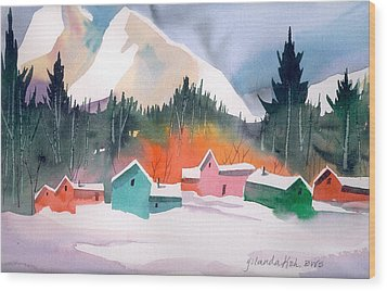 Wood Print featuring the painting Winter Cottages by Yolanda Koh