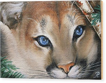 Winter Cougar Wood Print by Larissa Prince