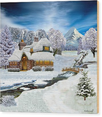 Winter Country Cottage Wood Print