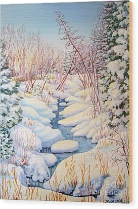 Wood Print featuring the painting Winter Creek 1  by Inese Poga