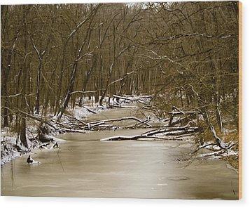 Winter Creek Wood Print by Bonnie Willis
