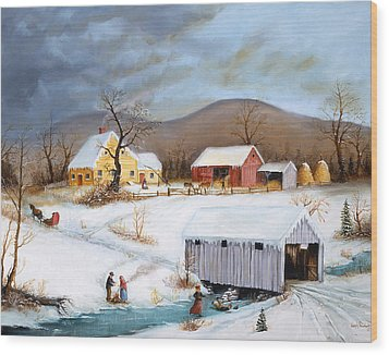 Winter Crossing Wood Print by Joseph Holodook