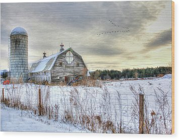 Winter Days In Vermont Wood Print by Sharon Batdorf