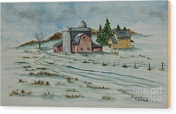 Winter Down On The Farm Wood Print by Charlotte Blanchard