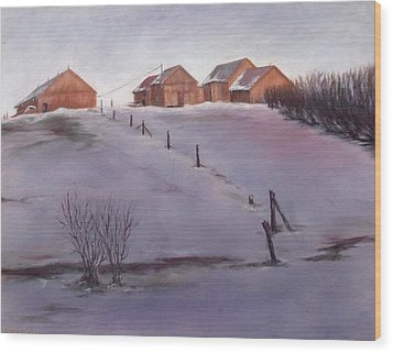Wood Print featuring the painting Winter Dusk by Diane Daigle