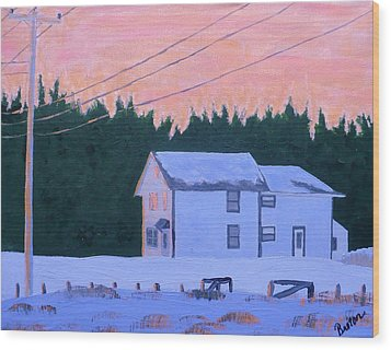 Winter Dusk Wood Print by Laurie Breton
