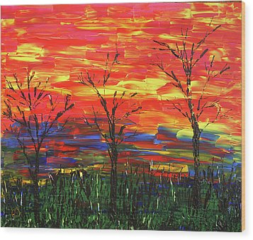 Winter Evening Wood Print by Erik Tanghe