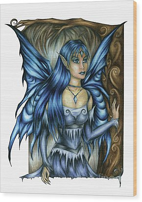 Winter Fairy Drawing Wood Print