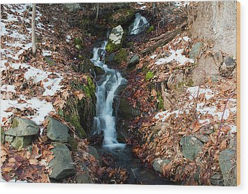 Winter Falls At Franny Reese Wood Print by Jeff Severson