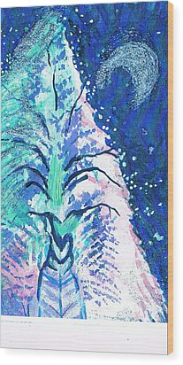 Winter Fantasy Tree With Moon Wood Print by Anne-Elizabeth Whiteway