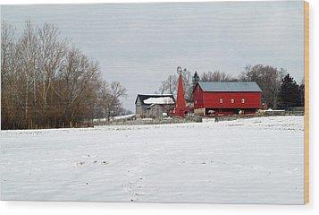 Winter Farm Wood Print