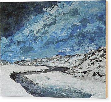 Winter Filled Arroyo Wood Print