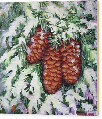 Winter Fir Cones Wood Print by Inese Poga