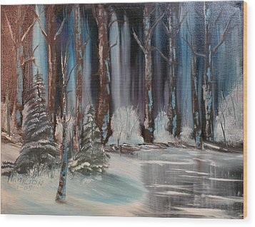 Winter Forest Wood Print by Larry Hamilton