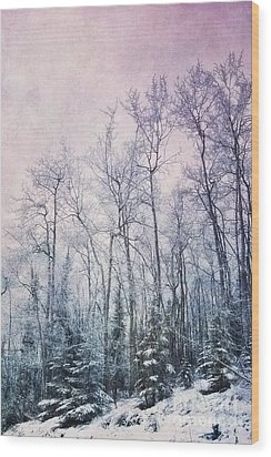 Winter Forest Wood Print by Priska Wettstein
