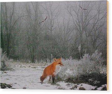 Winter Fox Wood Print by Julie Grace