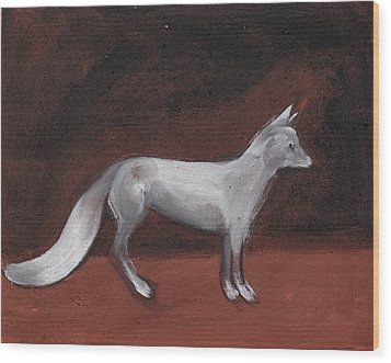 Winter Fox Wood Print by Sophy White