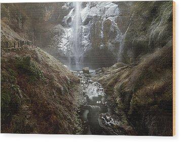 Winter Freeze At Multnomah Falls Wood Print by David Gn