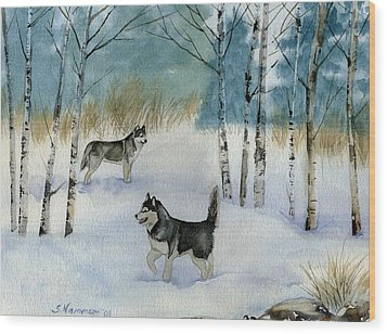 Winter Frolic Wood Print