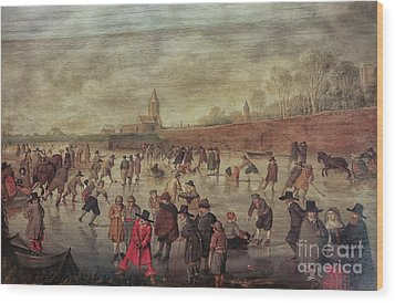 Wood Print featuring the photograph Winter Fun Painting By Barend Avercamp by Patricia Hofmeester