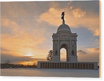 Winter Gettysburg Sunrise Wood Print