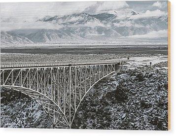 Wood Print featuring the photograph Winter Gorge Bridge  by Britt Runyon