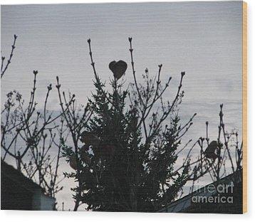 Wood Print featuring the photograph Winter Heart On Lilac by Judyann Matthews