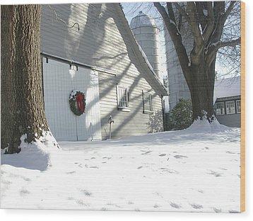 Winter Holiday At The Farm. Wood Print by Robert Ponzoni