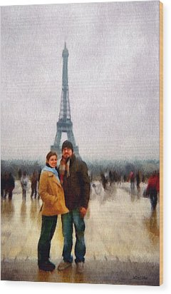 Winter Honeymoon In Paris Wood Print by Jeff Kolker