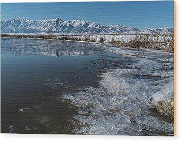 Winter Ice Flows Wood Print by Justin Johnson